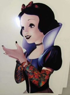 Goth Princess Decal - I bet you never would have pictured Snow White as a badass tattooed chick, but an Etsy user by the name of Stickerman is currently selling this Got. Goth Disney, Disney Go, Punk Disney Princesses, Dark Disney, Hipster Disney, Disney Divas, Modern Disney, Disney Stuff, Goth Snow White