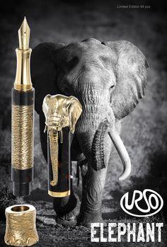 An expensive writting jewel for MEN- Elephant bronze version - URSO fountain pen
