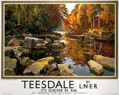 Teesdale, near Barnard Castle, Durham. Vintage LNER Travel poster by Ernest William Haslehust - larger scale here Posters Uk, Train Posters, Railway Posters, Online Posters, Art Deco Posters, Poster Prints, Art Print, Giclee Print, Barnard Castle
