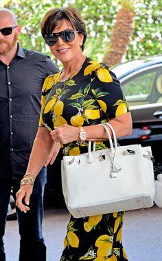 Kris Jenner from Cannes Film Festival Star Sightings Kardashian Style, Kardashian Jenner, Kardashian Family, Cool Outfits, Casual Outfits, Fashion Outfits, Kris Jenner Style, Lemon Print Dress, Jenner Hair