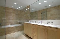 Bathroom, Tiled Walk In Shower For Small Bathroom With Recessed Lighting And Solid Wood Vanity: How to Build a Walk in Shower in Fast Time and Low Budget in Your Home