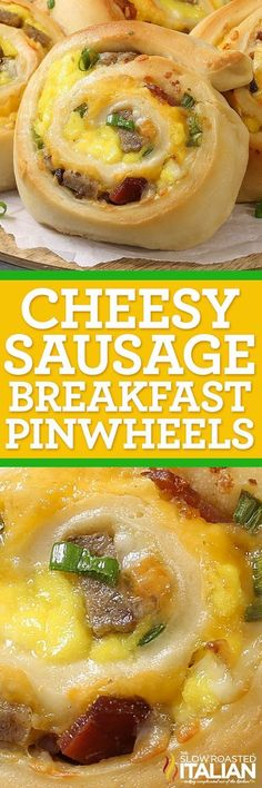 Cheesy Sausage Breakfast Pinwheels are a simple recipe made with soft and tender bread filled with your favorite breakfast fixin's. It's like unrolling a little piece of heaven loaded with smoky bacon, pork sausage, scrambled eggs and ooey gooey cheese! @