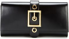 Lady Buckle Leather Clutch