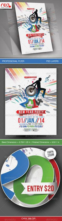 New Year Party Flyer & Poster Template #GraphicRiver SPECIFICATION Flyer / Poster Template is 8.5 by 11 in (8.75 in by 11.25 in with bleeds) and is ready for print, because it's in CMYK at 300 dpi. The psd file can be edited in Photoshop, and to be simple able to change the text. 1 Layered Photoshop file in zip folders with editable text and Simple to Customize. replace colours, text, add images & your logos, etc. Help file included NOTE : The photos used in the preview are not included…