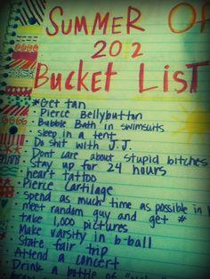 bucket list! :)
