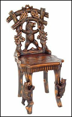 Bear Sculptural Chair at design toscano   So ornate that it's practically a sculpture-within-a-sculpture, this incredible replica work of rustic decor has roots in late-18th century Swiss antiques shown in the great international exhibitions alongside works by Tiffany, Galle and Linke. Originally carved for music hall performers, a trio of bears dances across this whimsical addition to lodge decor or Western home decor.