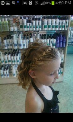Little girl updo, flower girl, flower girl hairstyles, curls, short hair