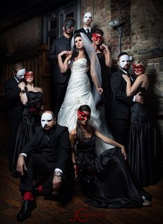 A fun Halloween photo idea for your bridal party. Photo by J. Clay Photo.