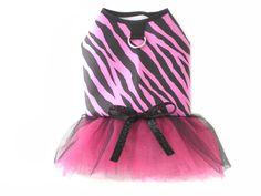 Pink Zebra Stripe Pet Dog Apparel Clothes Harness Tutu Dress XS   eBay