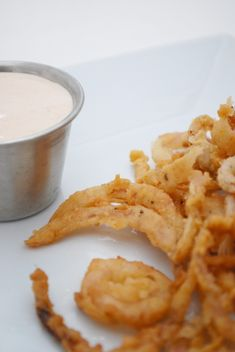 Onion Strings with Dipping Sauce on http://www.cakeandallie.com