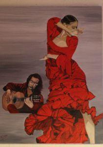 Peinture de MChene: DANSEUSE DE FLAMENCO