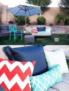 @alisonwaken loves adding color to her furniture with bright, patterned pillows. Spice up your space this summer with outdoor accessories from our home collection at your local store. http://allforthememories.com/blog/2015/05/14/easy-backyard-party/