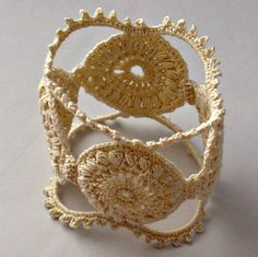 Crochet Bracelet Fiber Bracelet  Irish Lace Cuff Medallion Fine Thread Bangle Beige