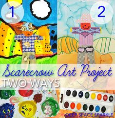 Scarecrow art project for kids: two paint choices creates two options for lessons #scarecrow #halloweenart
