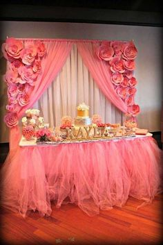 Baby shower dessert table, pink and coral and gold