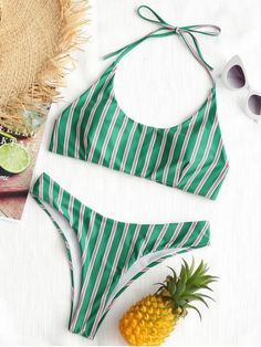 To get you counting down the days until your next holiday, this refreshing bikini set transports you to sun-kissed climes with its easy-going style. The bikini top features a classic haltercollar silhouette. Match the cheeky high leg bottoms add up to an eye-catching combination. #Zaful #Swimwear #Bikinis