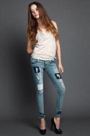 Patch Detail Worn Out Pencil Jeans - Jeans