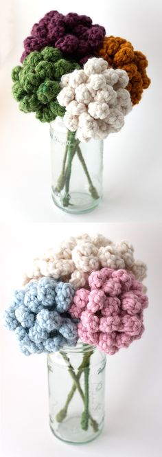 Forever Flowers - idea for crochet flowers! Crochet Home, Love Crochet, Crochet Crafts, Crochet Yarn, Yarn Crafts, Crochet Stitches, Crochet Projects, Knitted Flowers, Crochet Flower Patterns