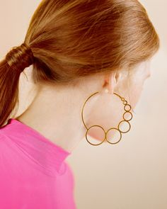 Jewellery designed by the best independent jewellery designers. Made by Motley London. Unique, quality pieces, at an affordable price. Gold Hoop Earrings, Statement Earrings, Contemporary Jewellery, Pink Tops, Bright Pink, Fashion Forward, Evans, Bubble, Pony