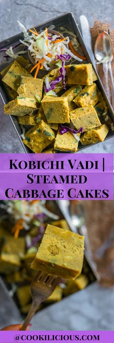 Kobichi Vadi or Steamed Cabbage Cakes is a traditional Maharashtrian recipe. Similar to Kothimbir vadi, these cakes are made of chickpea flour, spices & then steamed. A great nutritious way to consume cabbage & stay healthy. You can serve them as snacks with some chutney or ketchup.