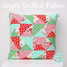 Quilted patchwork pillow tutorial by Nadra of Ellis and Higgs featuring a split square variation of a half square triangle block. Patchwork Pillow, Patchwork Patterns, Quilted Pillow, Quilt Patterns, Quilting Board, Quilting Rulers, Quilting Projects, Sewing Projects, Quilting Ideas