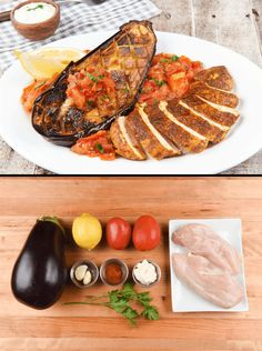 Moroccan Spiced Chicken with broiled eggplant, roasted Roma tomatoes ...