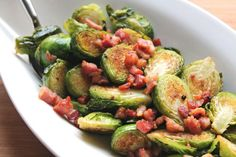 crispy pancetta and brussels sprouts in serving bowl