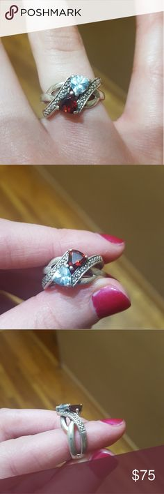 Gemstone Ring Garnet and Aquamarine set in sterling silver. Originally purchased from Kay Jewelers. Size 5.5 but could be resized. Jewelry Rings