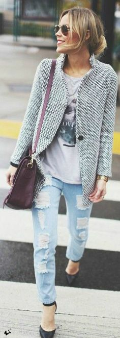 Street style boyfriend Jeans | More outfits like this on the Stylekick app! Download at http://app.stylekick.com