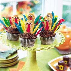 Gobbling-good Cupcakes  http://familyfun.go.com/autumn/fall-recipes/fall-desserts/favorite-fall-desserts-pg-927273/