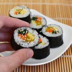 How To Make Gimbap: Korean Seaweed and Rice Rolls — Cooking Lessons from The Kitchn Rice Rolls, Korean Food, Korean Recipes, Korean Rice, Asian, Appetizers For Party, Seaweed, Gourmet Recipes, Lunch Recipes
