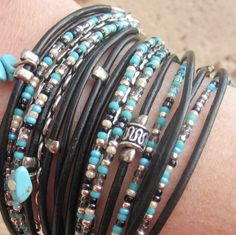 Boho Chic Black Leather Wrap Bracelet with Mixed by DesignsbyNoa, $38.00