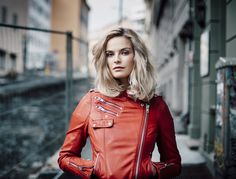 Powered by SmugMug Red Leather, Leather Jacket, Portraits, Lifestyle, Jackets, Beauty, Fashion, Studded Leather Jacket, Down Jackets