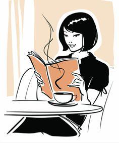 leyendo con un café delante