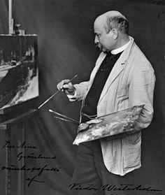 WESTERHOLM, VICTOR Axel (1860-1919) - Taidekoulutus: professori, Suomen Taideyhdistyksen piirustuskoulu, Turku 1869-70. Westerholmia on sanottu viimeiseksi Düsseldorfin koulun käyneeksi. Hän opiskeli Düsseldorfin taideakatemiassa, Saksassa 1878-80 ja 1881-86, Saksan jälkeen myös Pariisissa 1888-90. Taiteilijan debyytti oli 1876. Palkintojen, kunniamerkkien lisäksi Victor Westerholm sai professorin arvonimen 1918.