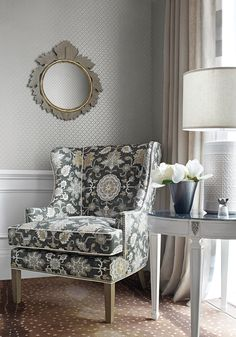 Monterey Wing Chair from Thibaut Fine Furniture in Mahal fabric in grey
