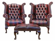 Chesterfield Offer Buttoned Seat Pair Queen Anne High Back Wing Chair Footstool, Leather Sofas, Traditional Sofas Wing Chair, Wingback Chair, Chivas Whisky, Leather Sofas Uk, Chesterfield Furniture, Queen Anne Chair, Interiors Online, House Interiors, Traditional Sofa