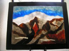 Painting in glass frit of Mt Baldy with snow by Mtbaldyglassworks, $200.00
