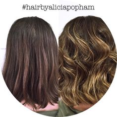 Balayage highlights before and after done by Alicia Popham in Corvallis, Oregon