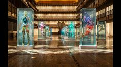 "New York City Ballet's 2015 Art Series features 15 stunning works by Dustin Yellin on the Promenade of the David H. Koch Theater. The works of incredible detail, which Yellin has described as ""humans trapped inside of microscope slides made up of cultural DNA,"" are part of his larger ""Psychogeography"" series."