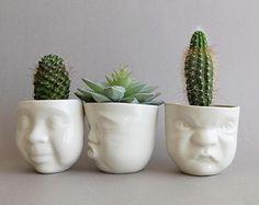 White Ceramic Face Planter Grumpy Small by SCULPTUREinDESIGN