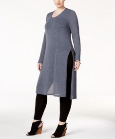 ING Trendy Plus Size Split-Side Tunic Sweater  | macys.com