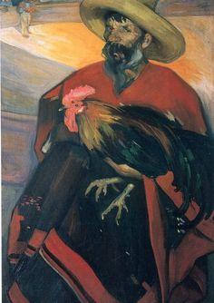 """""""El Gallero"""" by Mexican painter Saturnino Herrán."""