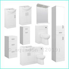 Bathroom Vanity Unit Cabinet White Furniture Toilet Basin Sink Cloakroom Storage · $97.95 Toilet Vanity Unit, Bathroom Sink Vanity Units, Vanity Wash Basin, Basin Sink, Cloakroom Storage, Cupboards For Sale, Sink Countertop, White Furniture, White Cabinets