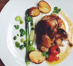 Our Springtime version of Pan Roasted Quail has been on the menu lately. Paired with the first baby Fava beans, leeks, new potatoes, and a simple white wine jus, there's nothing better to celebrate the new season. Recipe on our site. https://thecooksatelier.com/les_histoires/roasted-quail
