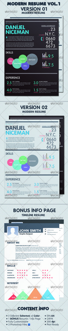 Modern Resume Bundle Print Templates - Stationery Pinterest - Modern Resume Styles