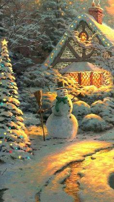 (usa) Christmas landscape by Thomas Kinkade Christmas Scenery, Christmas Landscape, Winter Scenery, Winter Landscape, Christmas Pictures, Christmas Lights, Christmas Print, Christmas Christmas, Xmas Pics
