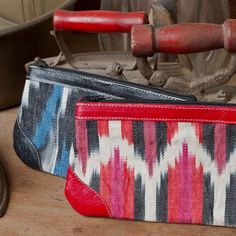 Bold & beautiful jaspe (Guatemalan ikat) & colorful leather clutch/cosmetic bag **Altiplano