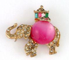 1950s Nice Vintage Collectible Elephant Shaped Rhinestones Pin Brooch   eBay