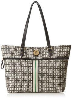 Tommy Hilfiger Coated Classics Shoulder Bag,Black/Cream,One Size
